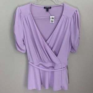 Express Purple Wrap Style Top M NWT